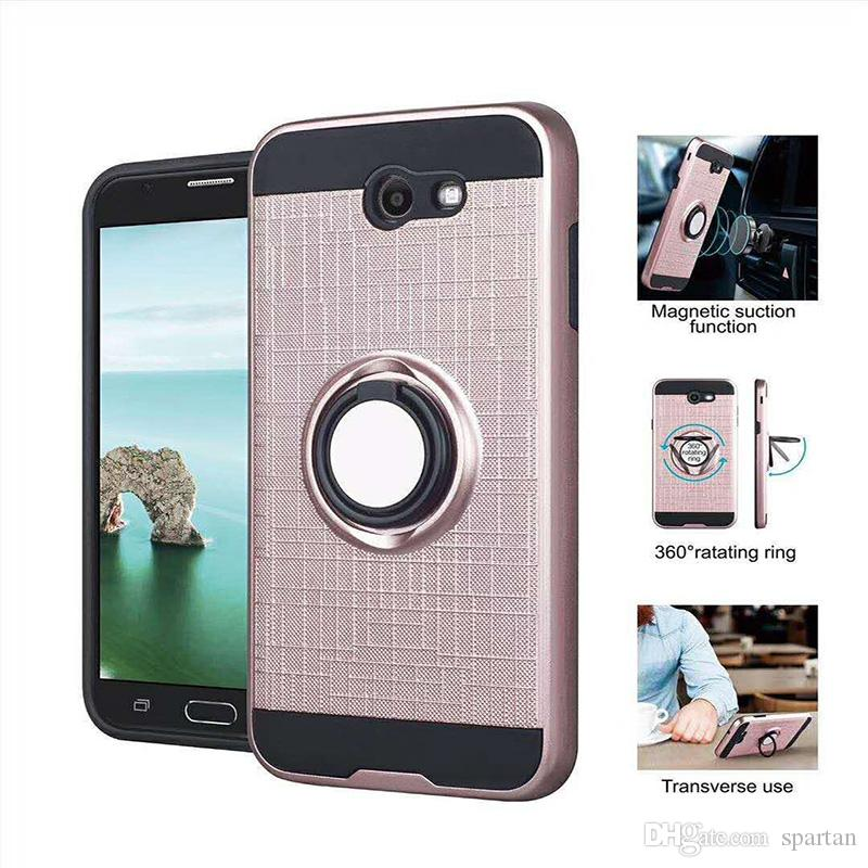 For Coolpad Legacy Moto E5 Plus G6 Play Samsung J7 Prime J3 2018 LG K20 Plus Q7 Stylo 5 Ring Case Armor Rugged Holder Fastion Cover Metropcs