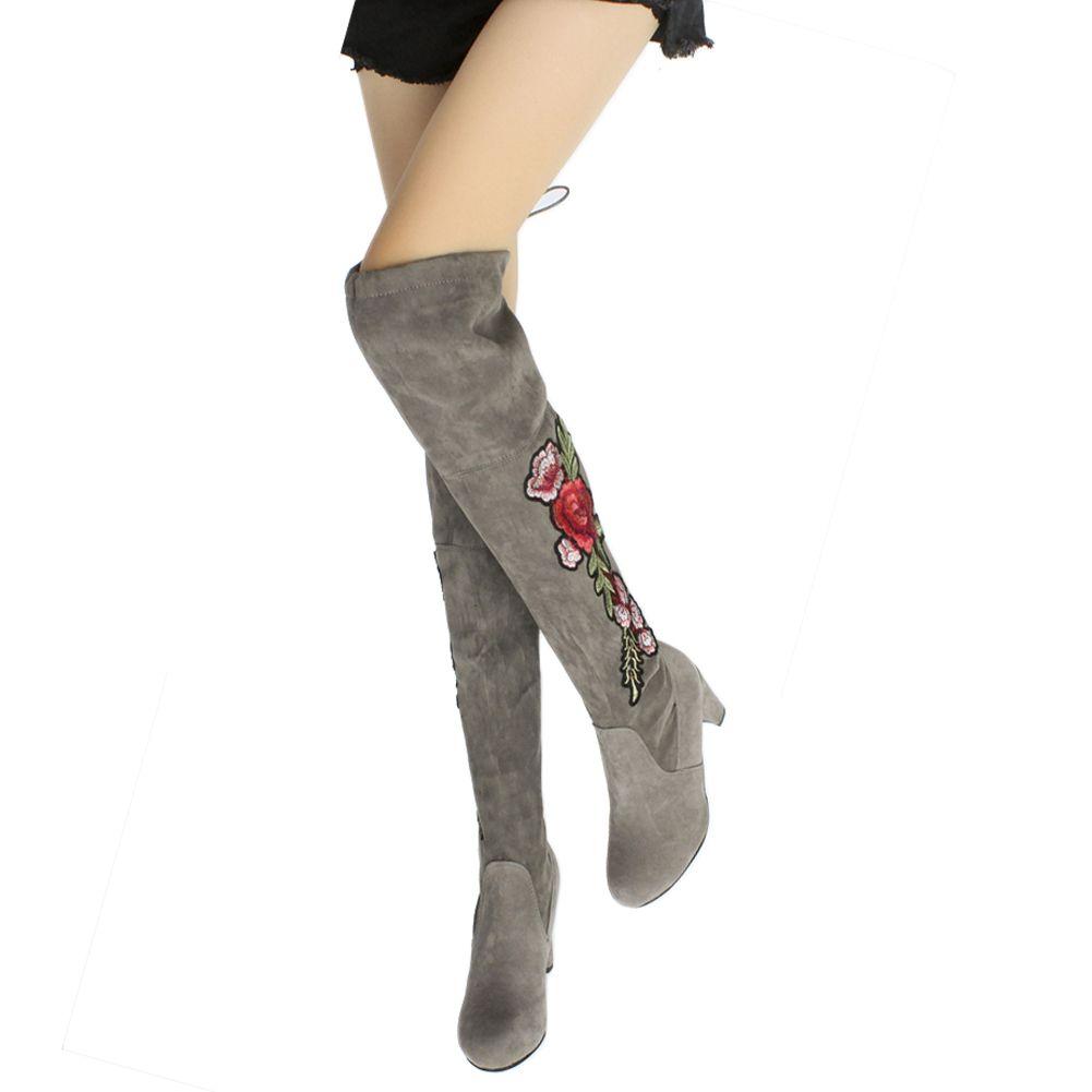 슬관절 롱 부츠 스웨이드 하이힐 부츠 신발 꽃 따뜻한 겨울 긴 무릎 부츠 핫 세일을 통해 뜨거운 Sale- 국립 스타일 자수