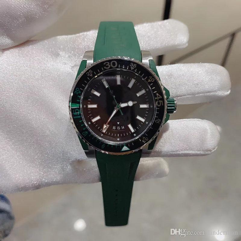 높은 품질 쿼트 운동 구 손목 시계 여성 블랙 녹색 고무 밴드 밴드 남성 시계 MONTRE 옴므 다이얼