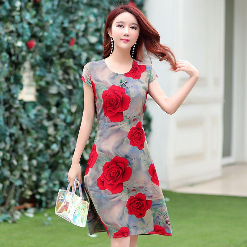 Ukraine Maxi Dress Vente Chaude Nouvelle Arrivée O-cou Court Régulier Coton Naturel D'été Dames À Manches Courtes Imprimé Slim Ceinture Y190514