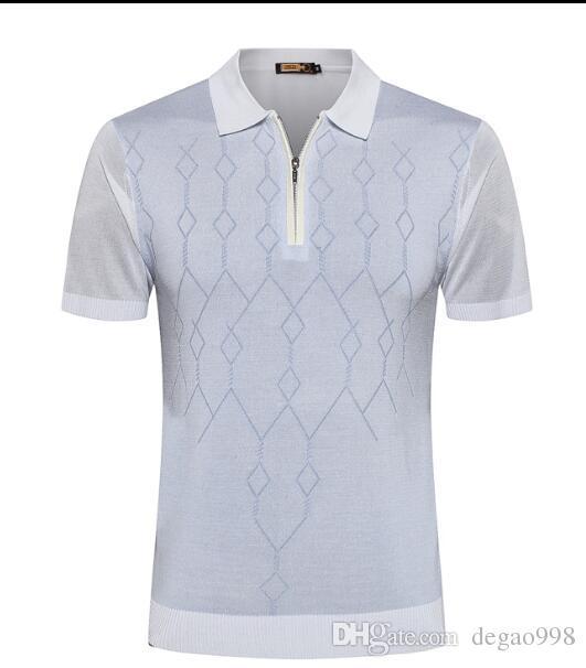 ZILLI short-sleeved T-shirt snake snake skin 2019 summer new silk fashion print zipper casual leather tide