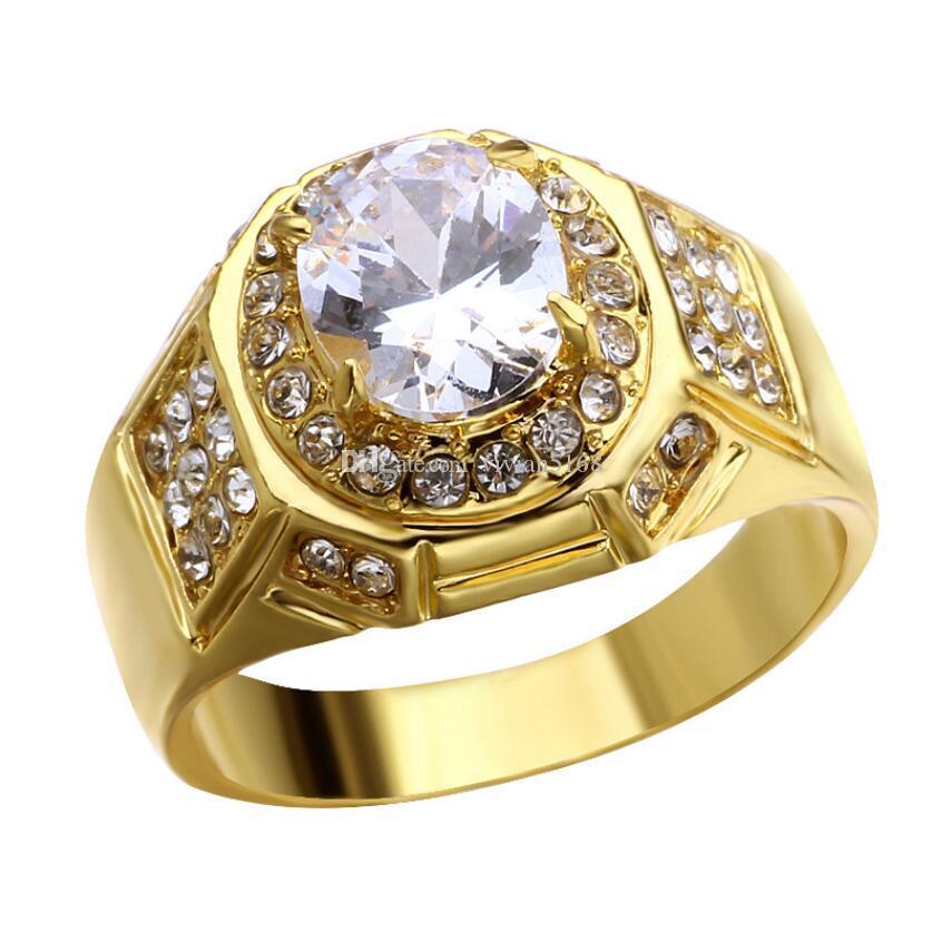 Hiphip كامل خواتم الماس للرجال أعلى جودة Fashaion الهيب هوب اكسسوارات Crytal الجواهر 925 الفضة خاتم الذهب بالجملة