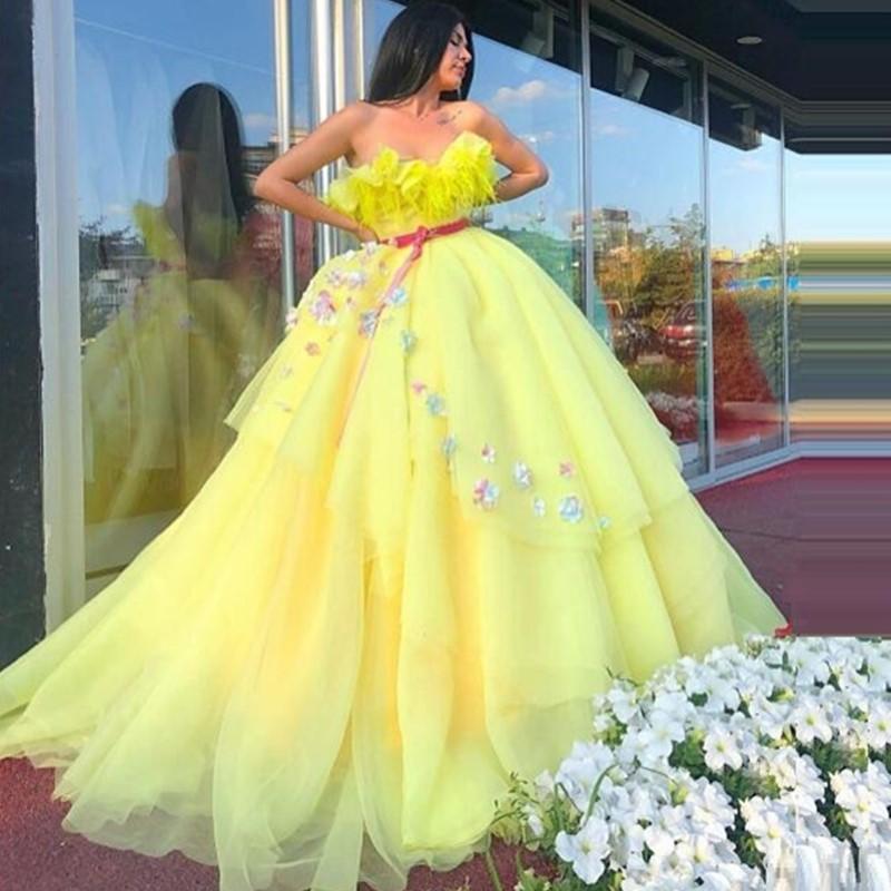 2020 красивые желтые платья Quinceanera бальное платье с кистями 3D цветы ручной работы без бретелек многоуровневое кружево сладкий 16 церемония