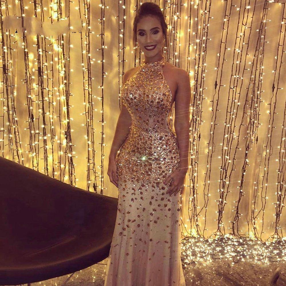 Luxury Mermaid Prom Dresses 2020 Champagne Long Evening Gowns Halter Sparkling Beaded Crystal Illusion Neck Birthday Party Gown