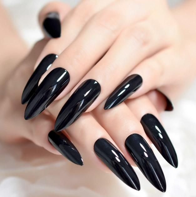 24Pcs/set Solid Fake Nails Extra Long Shiny Matte Sharp Style Stiletto False Nail Easy Apply Artificial Faux Ongles With Glue