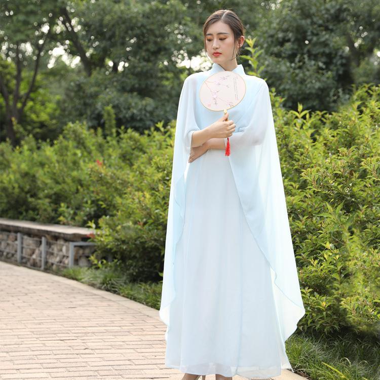 Lanserville robe vintage pour femme en mousseline avec col vertical, boucle élégante et boucle de costume zen costume de thé de style chinois (bleu clair de l'eau)
