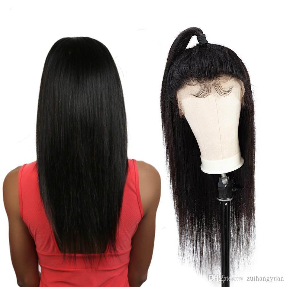 360 Dantel Frontal Peruk ön koparıp bebek saç ile 150% Yoğunluk Brezilyalı Düz İnsan Saç Olmayan Remy Saç + peruk net