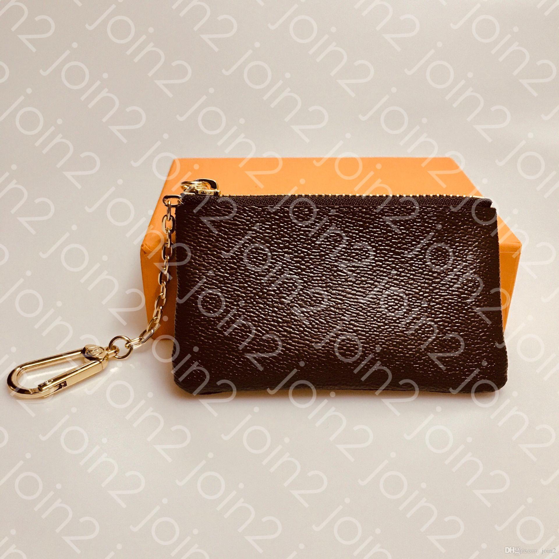 CHAVE BOLSA M62650 POCHETTE CLES Designer de cartão de crédito a forma das mulheres dos homens Key Anel Titular Coin Purse Luxo Mini Carteira encanto do saco de lona Brown
