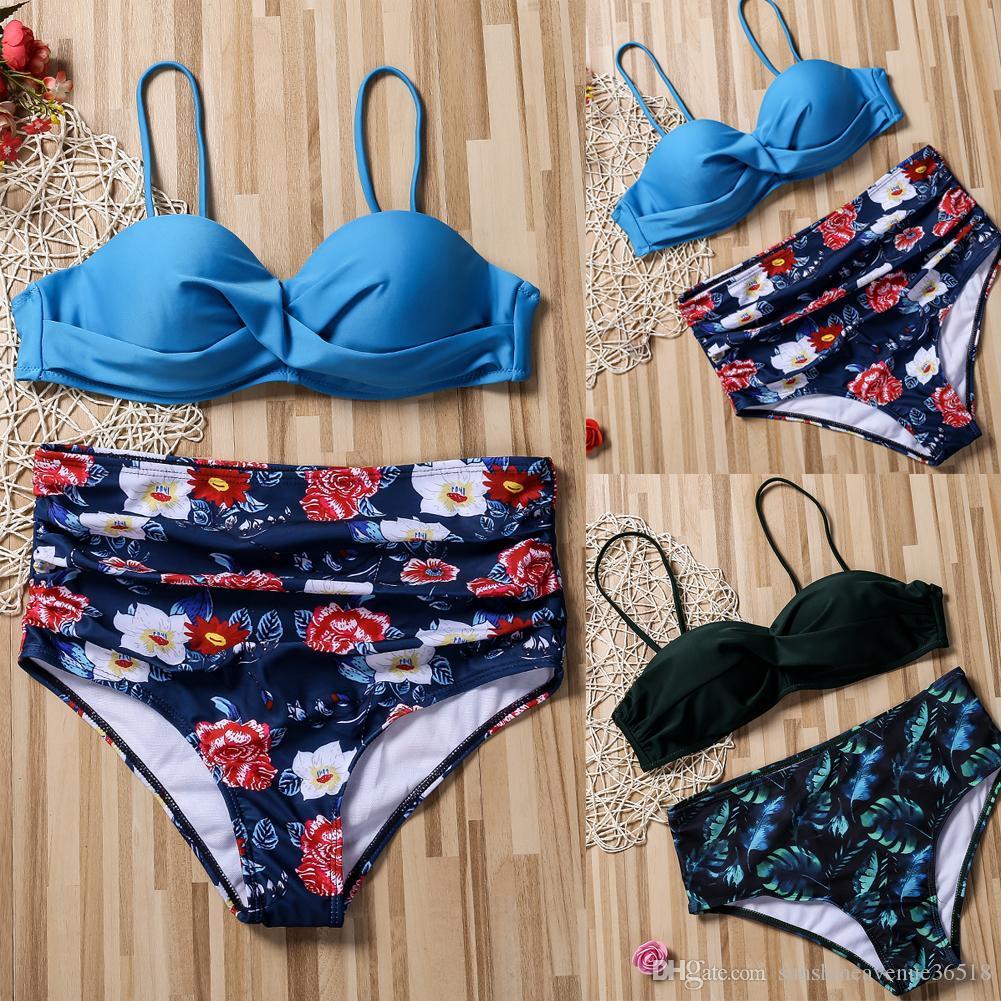 Kadın Çiçek Bikini Seti Çiçek Baskılı Askılar Yüksek Bel Şort Plaj Mayo Mayo Vintage İki adet Mayo