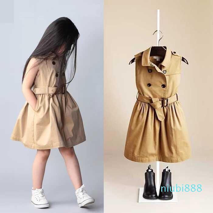 JH Primavera Estate Le ragazze vestono in doppio petto maniche maglia del vestito Europa Moda per bambini per bambini principessa abiti plissé con cintura