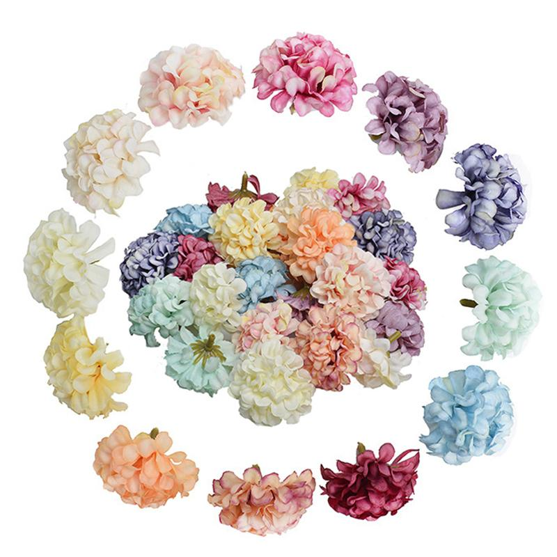 Set Partido Hydrangea presente 4.5CM grinalda da flor artificial cabeça Handmade 10PCS / casamento Hot Sale DIY Decoração Silk