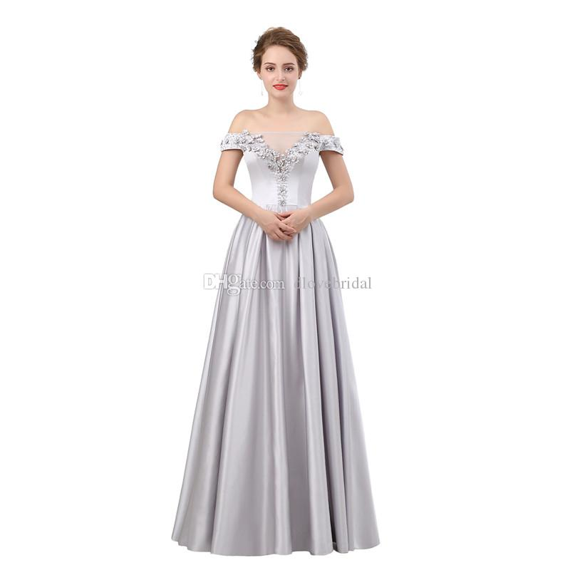 A Line Satin Off Shoulder Bridesmaids Dresses with Handmade Flowers Floor Length Wedding Guest Gowns Maid of Honor Dress