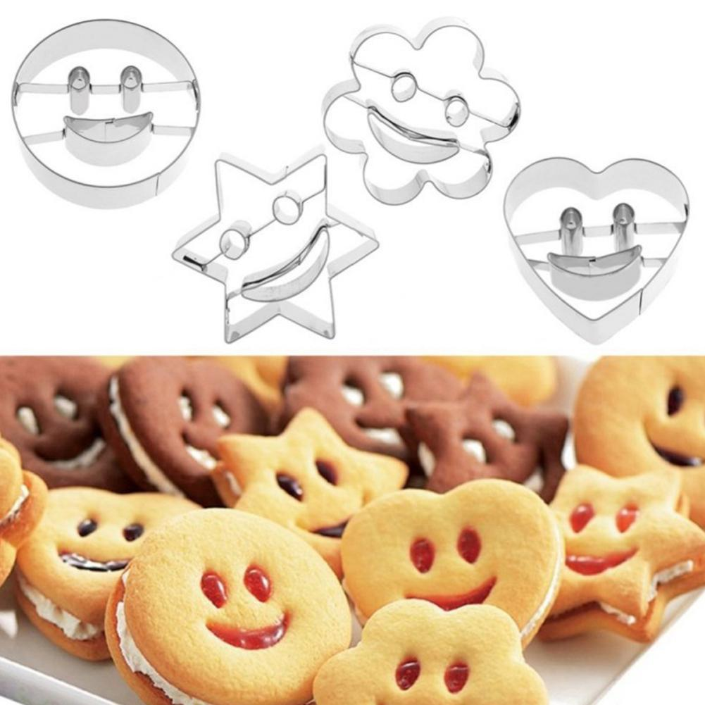 4Pcs/Set Stainless Steel Smiling Face Heart Star Flower Cookie Molds Biscuit DIY Cutter Moulds Cutting Vegetables Baking Tool
