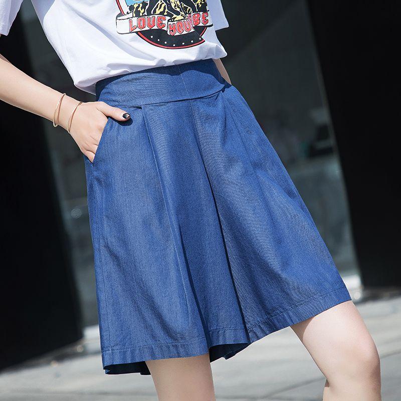 Plus Size 2XL Women Shorts Jeans Casual Shorts Skirts 2019 Summer Thin Tencel Fashion Loose Denim Short Jeans Feminino WH48