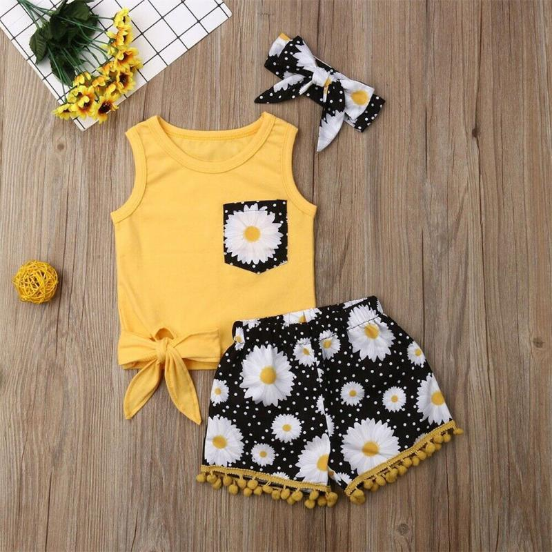 Summer Fashion Toddler Baby Kids Girls Bow Tie Short Sleeve Floral Vest Tops+ Tassels Shorts + Hairband Clothes Set
