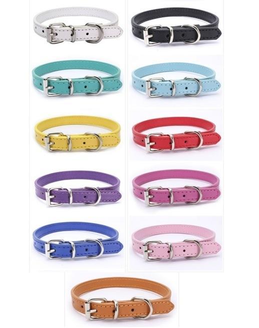 Мода искусственная кожа ошейники для собак Зоотовары ошейник регулируемый ожерелье шить безопасность для собаки кошки щенка 11 цветов