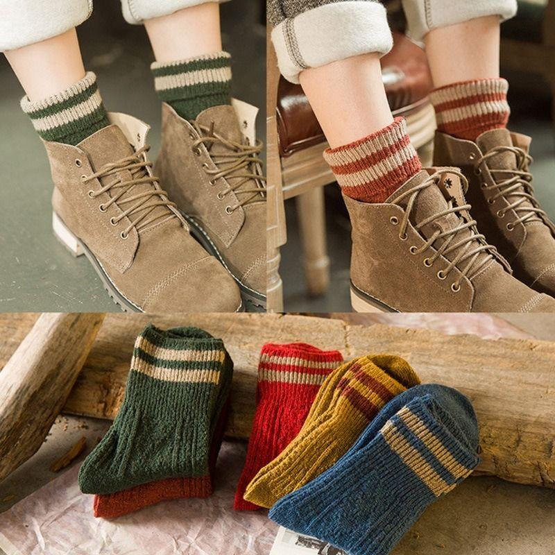 Winter Wool Socks Thicken Warm Knitted Striped Women Socks Christmas Style Female Short SA-8