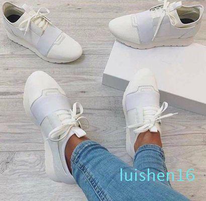Clásica marca con cuero de las zapatillas de deporte de los hombres de moda de calidad superior de malla para mujer para hombre Carrera Participantes entrenador L16
