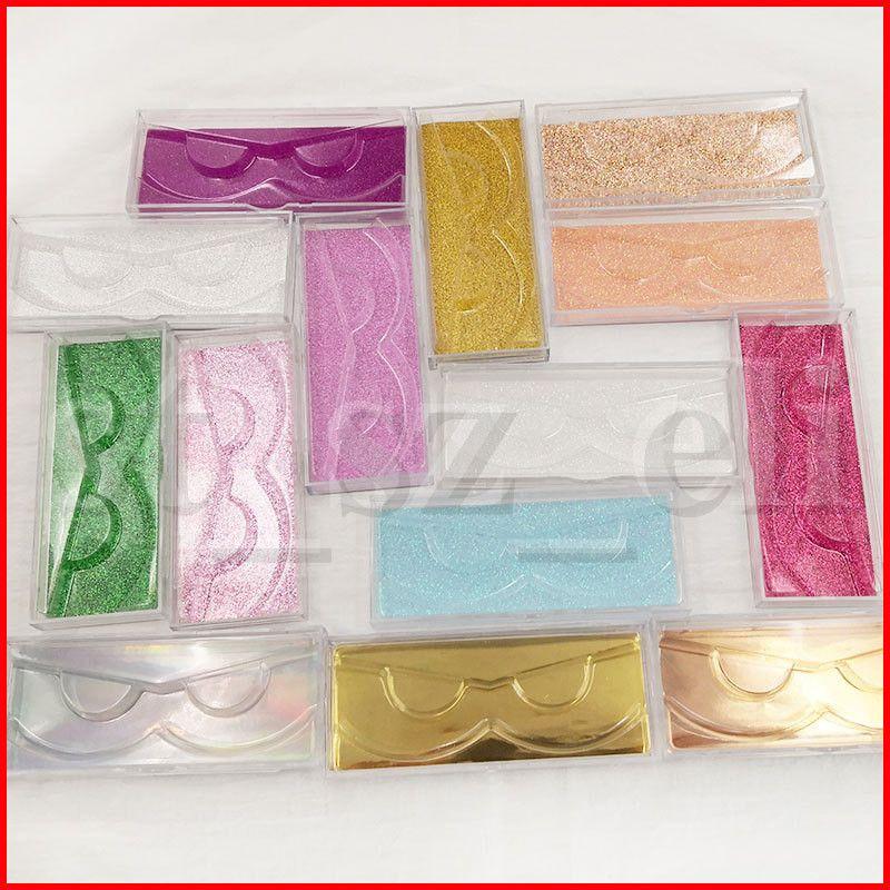 Rectangle Round Magnetic Lashes Box with eyelash tray 3D Mink Eyelashes Boxes Fake False Eyelashes Packaging Case Empty Eyelash Box