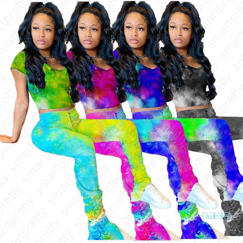 2020 Women Tie Dye Tracksuit Summer Pants Leggings and Short Sleeve T shirt Crop Tee Tops Two Piece Outfit Clubwear Sportswear Cloth D42108