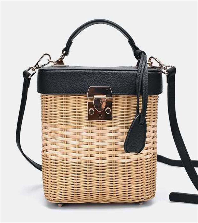Women's bag luxury handbags rattan Straw crossbody bags for women Genuine Leather beach bucket bags original brand designer 2020