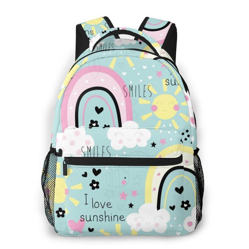 2020 OLN Backpack Mulheres Shoulder Bag Rainbow Clouds Pattern Primavera bonito da escola Moda Saco Para Adolescente mochilas de viagem