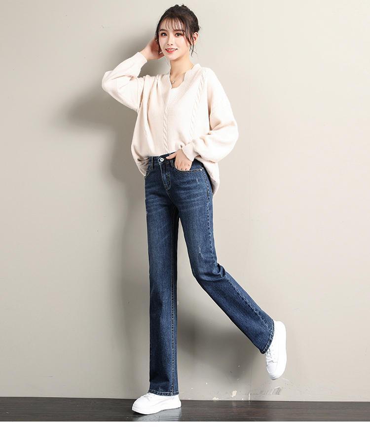 Bleu foncé Automne Outfit Nouvelle taille haute Largeur Leg Leisure Show Thin serpillière Long Pants