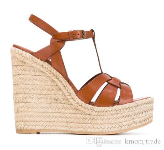 Mulher Lançamentos Tribute Espadrille Wedge Sandals T-cinta de couro Platform Wedge Espadrille Calçados Sandália