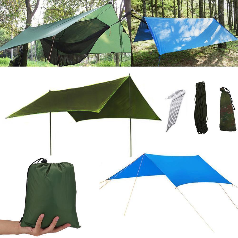 3 ألوان للماء التخييم بساط 3 * 3M خيمة من القماش متعددة الوظائف المظلة الأقمشة نزهة حصير برنامج إنقاذ الأصول المتعثرة مأوى بناء حديقة الظل CCA11703-A محفظة 5pcs