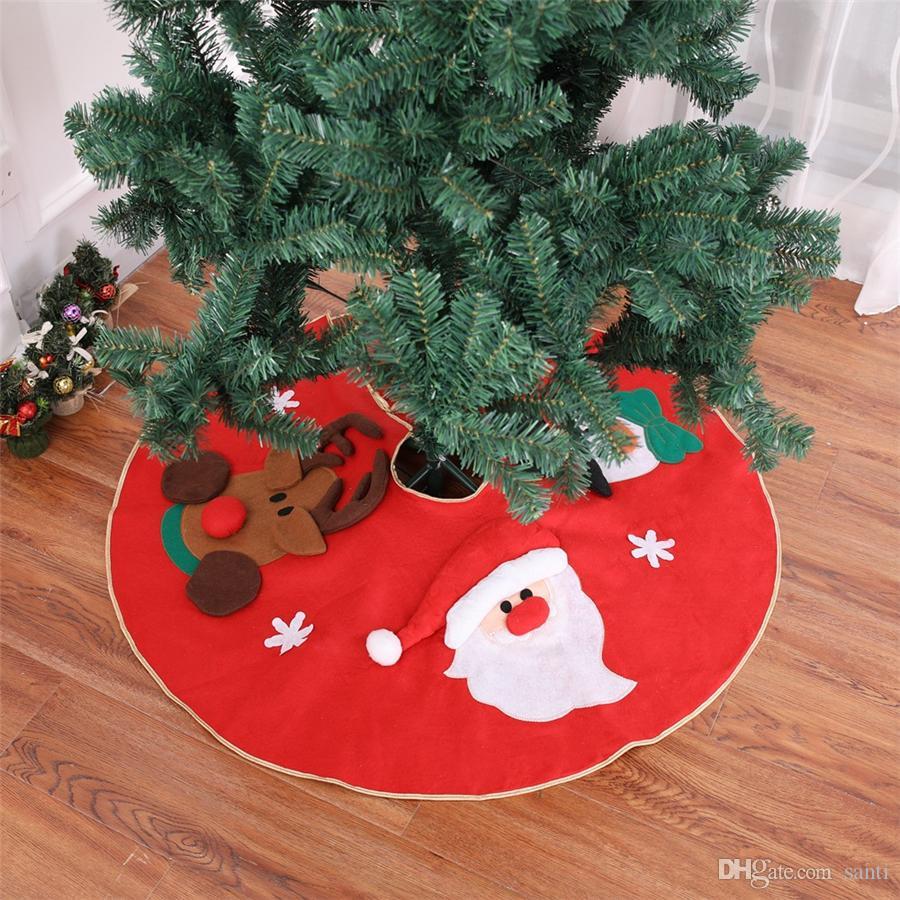 """39.4 """"크리스마스 트리 스커트 산타 클로스, 눈사람 사슴 천베이스 바닥 매트 커버 장식 크리스마스 트리 휴일 파티 장식 JK1910"""