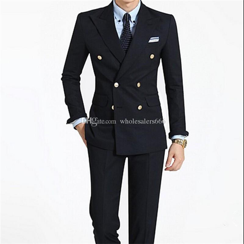 CROISÉ Groomsmen pic Lapel smokings marié hommes noirs Costumes de mariage / robe de bal / dîner Best Man Blazer (veste + pantalon + cravate) W316