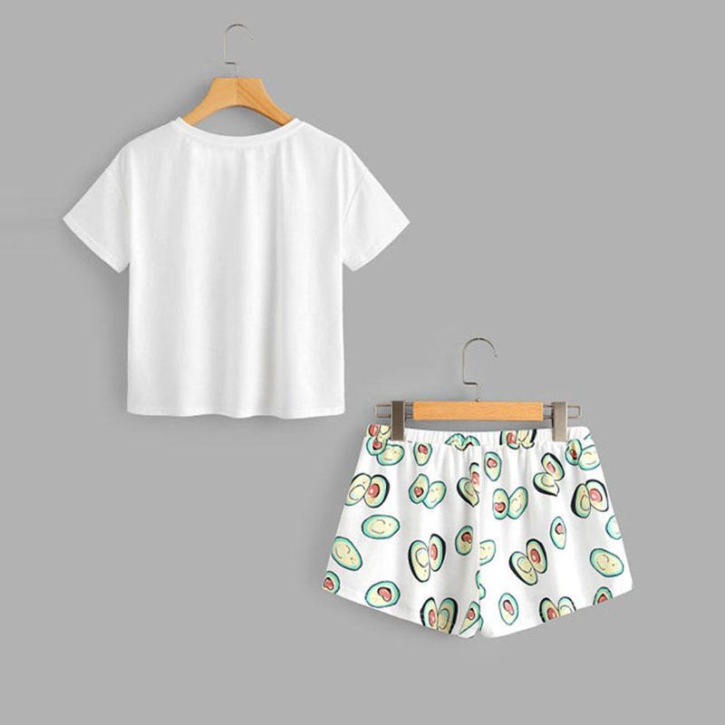 NIBESSER Yaz Avokado Karikatür Pijama Takımı Baskı Kısa Kollu T gömlek ve 2019 Kadın Casual Homewear Seti Set Sleeping Şort