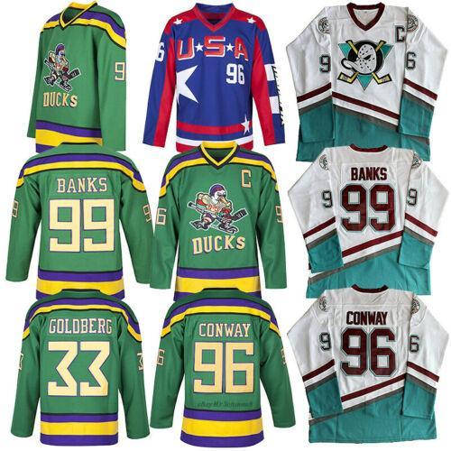 Mighty Ducks Jersey 66 Гордон Бомбей 96 Чарли Конвей 99 Адам Бэнкс Хоккейная Майка The Mighty Ducks Of Anaheim Mens Movie Jersey Белый Зеленый