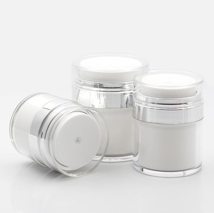 15 30 50 г жемчужно белый акриловый безвоздушный баночный круглый косметический кремовый баночный насос косметическая упаковка бутылка
