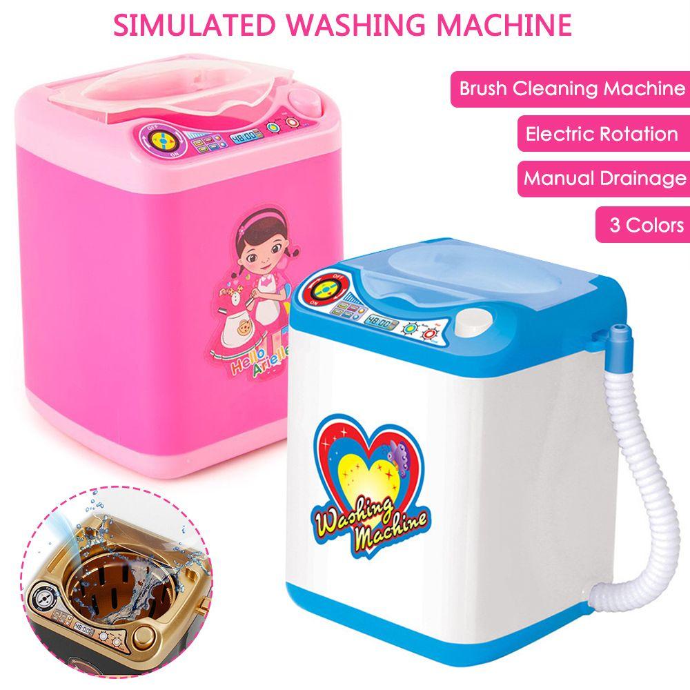 Drop Ship Mini Make -up Brush Washing Machine Simulation Toys Pleasant Children Play Electric Powders Cleaner Washer Tool