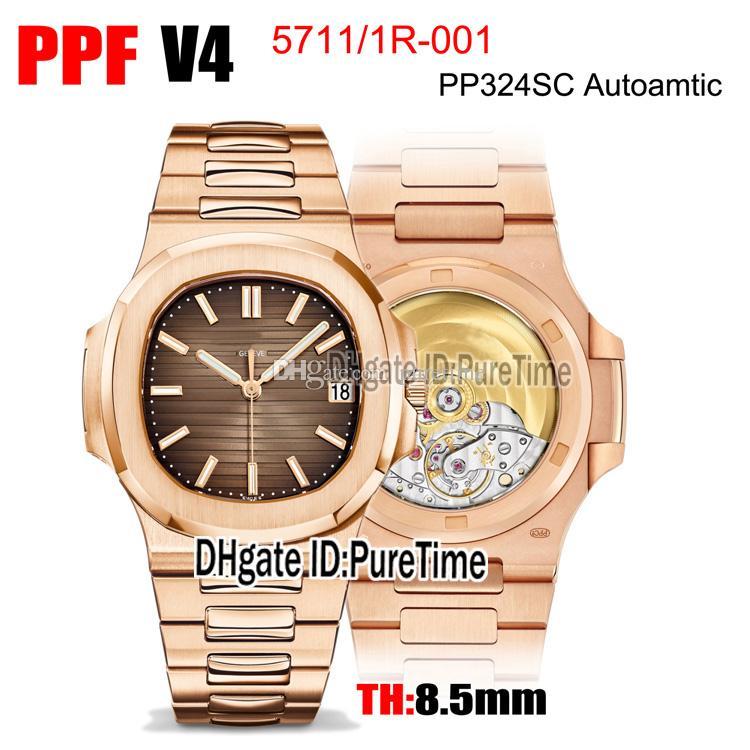 PPF 5711-1R-001 CAL A324SCS Otomatik Erkek İzle 18 K Rose Altın Kahverengi Doku Dial Paslanmaz Çelik Bilezik En Iyi Baskı Puretime PTPP C3