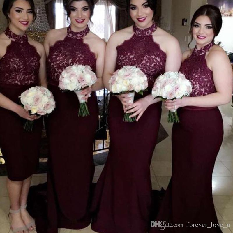 2019 부르고뉴 신부 들러리 드레스 하이 넥 웨딩 민소매 레이스 아플리케 짧은 하녀 명예 가운 웨딩 파티 게스트 형식 복장