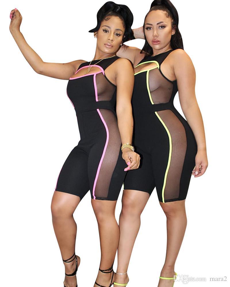 Tute da donna Pagliaccetti Vendite calde Senza maniche aderente leggings trasparenti con pannelli moda al ginocchio estate abbigliamento elegante plus size 285