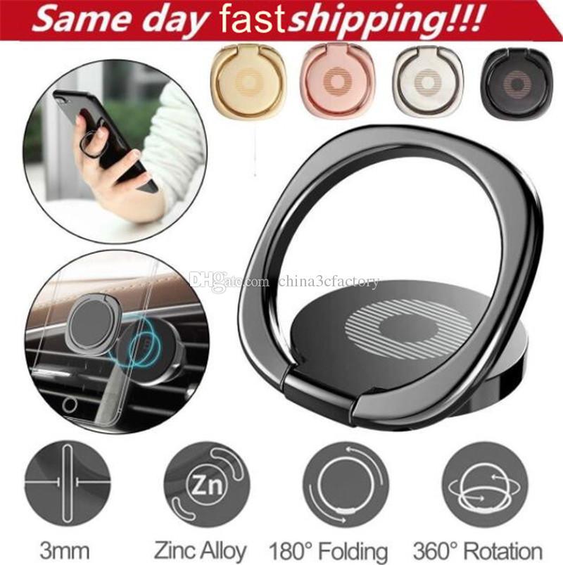 360 درجة المعادن البنصر حامل الهاتف الذكي حامل البنصر حامل لفون XS ماكس سامسونج اللوحي مع حقيبة البيع بالتجزئة
