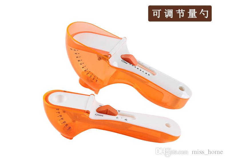 Kitchen Cooking Baking Spoon With Scale Plastic Spice Measuring Spoon Adjustable