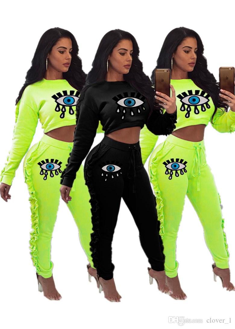 Femmes tenues à manches longues Ensemble 2 pièces survêtement de jogging leggings chemise Sportsuit tenues pantalon sweat-shirt klw2104 femmes costume de vêtements de sport