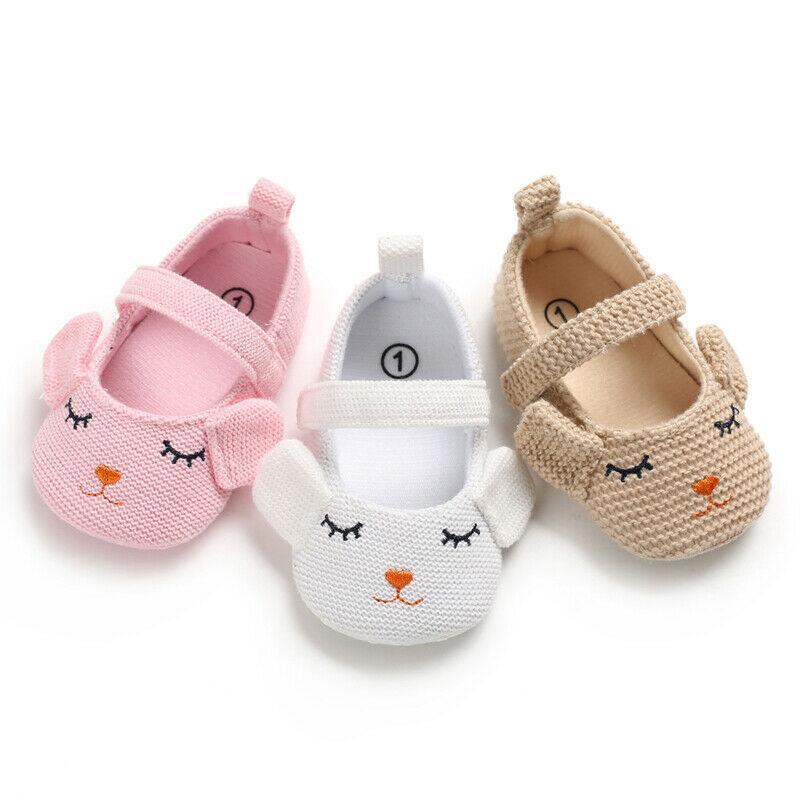 Pudcoco Tatlı kız Sevimli Yenidoğan Bebek Ayakkabı Kız Örme Yumuşak Sole Ayakkabı Bebek Karikatür Prewalkers 0-18M