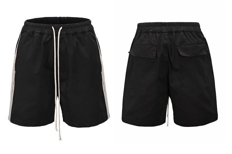 Cool2019 Wind Ro Tiempo de ocio Oscuro Rayas laterales Pantalones cortos Ins Tide Rope Easy Fivepence Pantalones Hombre