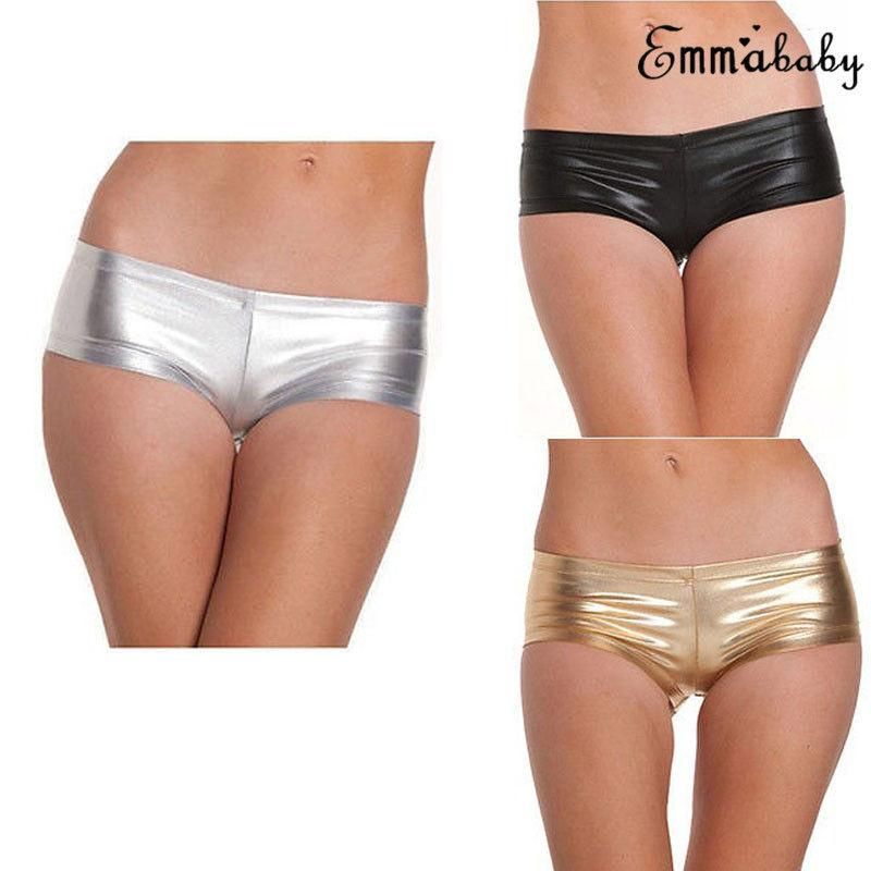 Shiny Sexy Lingerie Femme Womens Mini Short Stretchy Hot Golden&Sliver Solid Sexy Lingerie Underwear Metallic Erotic Sex Panties