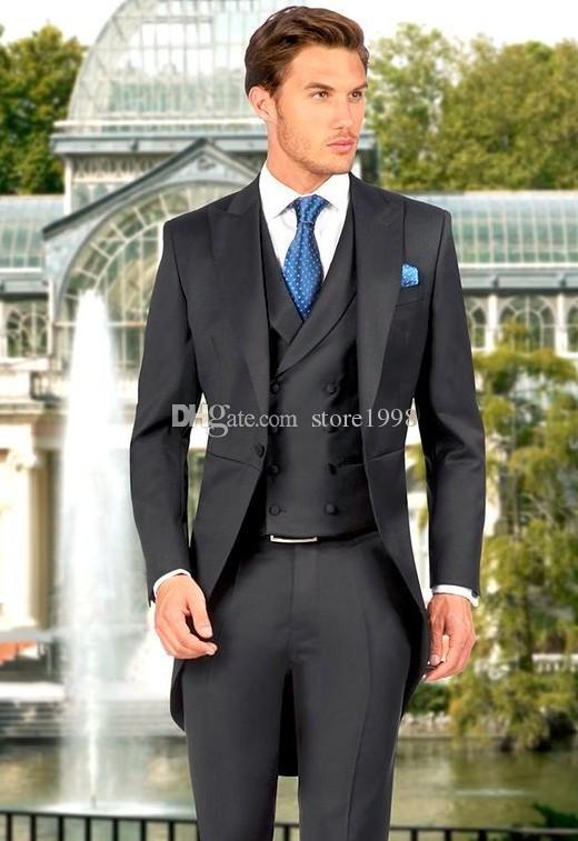 Estilo da manhã Groomsmen Pico Lapela Do Noivo Smoking Preto Ternos Dos Homens de Casamento / Prom / Jantar Melhor Homem Blazer (Jacket + Pants + Tie + Vest) B478