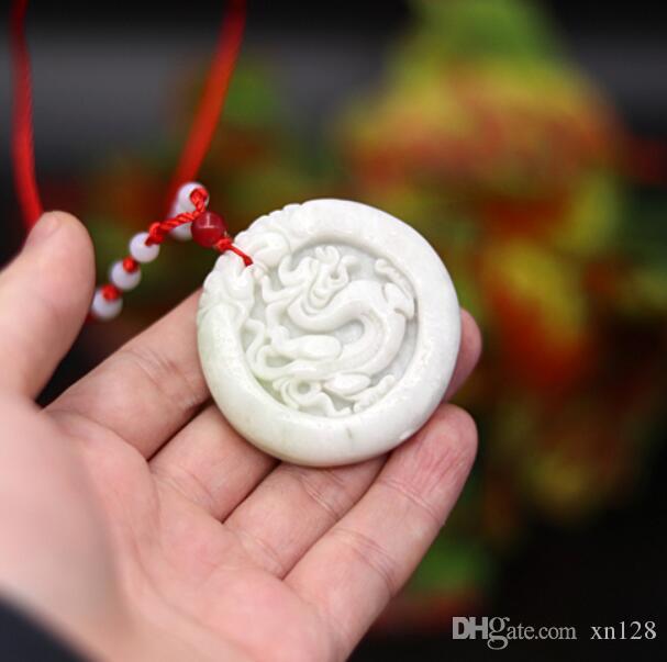 قلادة التنين الصيني الأبيض الطبيعي قلادة السحر المجوهرات المنحوتة تميمة ... ... إكسسوارات الأزياء الهدايا للنساء الرجال