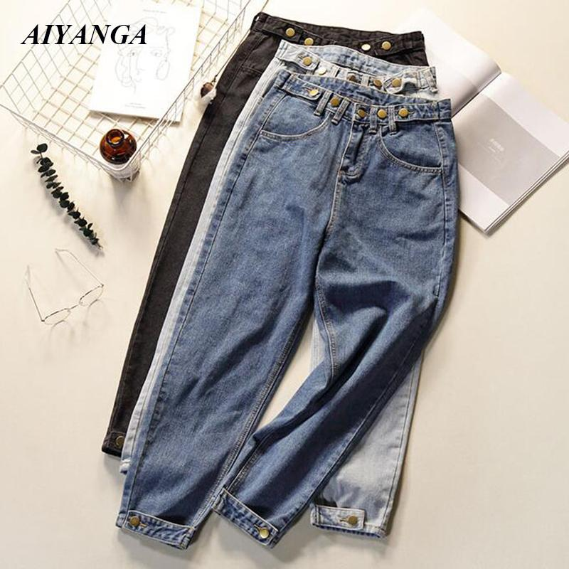 wen-ding-jeans Women Summer Softener Trousers High Waist Mom Boyfriend Style Denim Pants