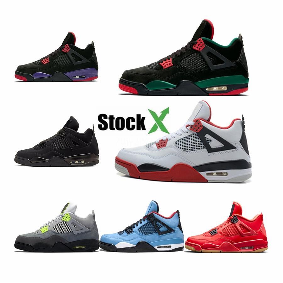 Zapatos de baloncesto del Mens caliente Raptors Aq3816 deportes atléticos de las zapatillas de deporte 4S Cactus Jack Travis puro dinero militares de deportes azul size13 # 549