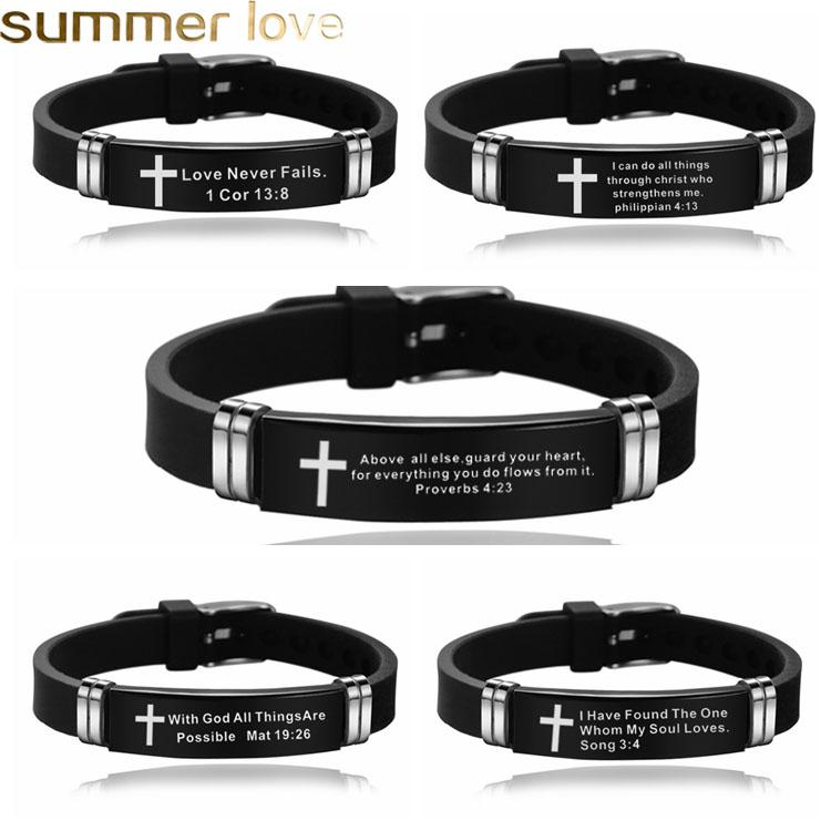 Cross Bible Verse Quotes Bracelets for Men Women Soft Silicone Bangle Stainless Steel Bracelet Male Jesus Christ Faith Prayer