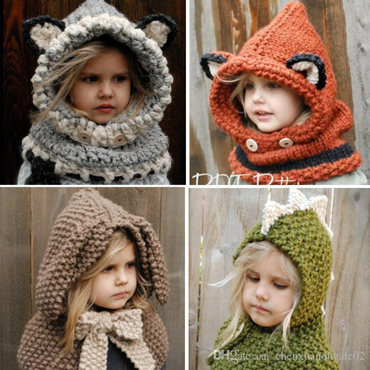 Kids Winter Children Crochet Hooded Cartoon Cat Cowl Fox dinosaur Caps Neck Wrap Scarf Knitted Collar Baby scarf and hat echarpe bonnet set